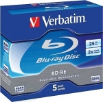 Verbatim BD-RE Blu-Ray Disc 25GB 2x, 5er Jewelcase