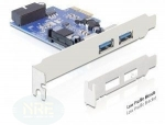 DeLock USB 3.0 PCIe Card, 1 intern/2 extern Port